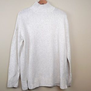 Cream Sweater Mock Turtle Neck